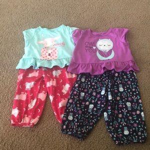 2 sets of toddler girl pajamas
